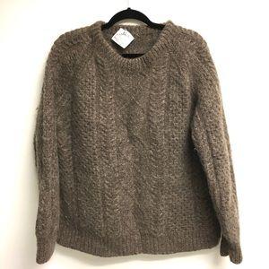 Vintage Hand Knit Irish Wool Fisherman's Sweater L